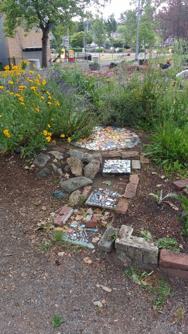 Mosaic tile pathway, Rainier Beach Learning Garden