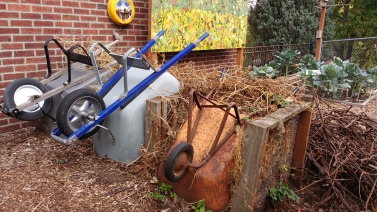 Compost bins and wheelbarrows, Montlake Elementary